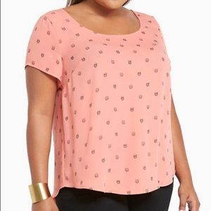 Coral owl blouse